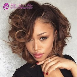 Wholesale Human Hair 33 - 7a grade quality 4 33# loose wave hair ombre lace front wig two tone peruvian human hair wig for black women