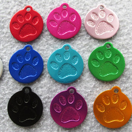 Wholesale Paw Pet Tags - 50pcs lot Paw design Circle Round Blank Aluminum Pet Dog Cat ID Tags Anodized Pet Dog Tags