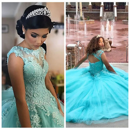Wholesale Vintage Lake - 2017 Beautiful Lake Blue Ball Gown Princess Quinceanera Dresses Lace Appliques Vestidos de 15 anos Custom Tulle Prom Gowns Lace Up Back