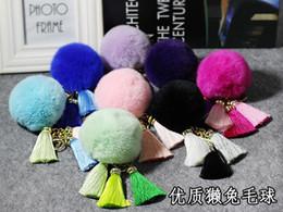 Wholesale White Silk Pendant Light - Keyring Key Ring Ice Silk Tassels Female Key Chain Car Pendant Rex Rabbit Hair Ball Plush Ornaments Mobile Phone Pendant SS0003