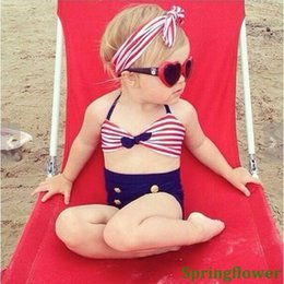 Wholesale Sailor Bikini Bathing Suit - 2016 Cute Striped Sailor Child Bikini swimsuit swimwear high waisted bathing suit for kids baby girls Biquini children swimwear