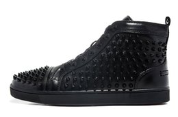 Wholesale Red Bottom Shoe Brand - Size 36-46 Men Women Black Leather With Spikes High Top Red Bottom Fashion Sneakers, Unisex Luxury Brand Flats, Comfortable Casual Shoes