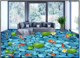 "Wholesale Customized Wedding Paintings - Customized 3d wallpaper 3d flooring wallpaper murals 3 d super clear floor painting lotus pond moonlight lotus ""nine fish background wall"