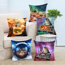 Wholesale Hotel Bedding Sale - Wholesale- Top Sale Creative Hipster DJ Cat Pizza Galaxy Fantastic Design Zippered Pillowcase DIY Pillowslip Bedding Set Pillow Case Cover