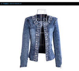 Wholesale Woman Denim Retro Short - New Slim Denim Jackets Outerwear Coats Classical Rhinestone Sequins Retro Jackets Women Coats With Rivets Female Jackets H223