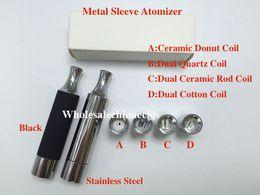 Wholesale Electronic Cigarette Ego T2 - Metal Sleeve dual ceramic coils wax quartz ceramic donut Atomizer electronic cigarette T2 skillet atomizer VS Ego-D Cannon skillet