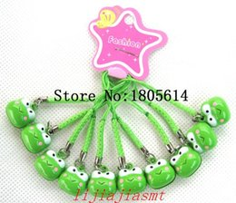 Wholesale Wholesale Frog Handbags - 100Pcs fashion popular Cute Green Frogs Head Shape Copper Small Bells With Straps Cellphone Purse Handbags Charms Bells
