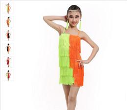 Wholesale Tassel Dance Dresses For Kids - 2016 Latin Dance Dress For Girls Children Ballet Tutu Tassel Kids Dance Dresses Modern-Dance-Costumes-For-Kids Dancewear Dress For Kids