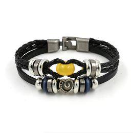Wholesale Retro Topaz - New Europe natural yellow beads Retro charm bracelet wholesale heart-shaped leather bracelets for couple models gift