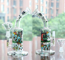 Wholesale turbine perc bongs - Cartoon Colorful Tags Water Pipes 14mm Oil Rigs 11'' Glass Bongs With Bowl Arm Turbine Perc And Honeycom Hookahs Perc Percolator Bong