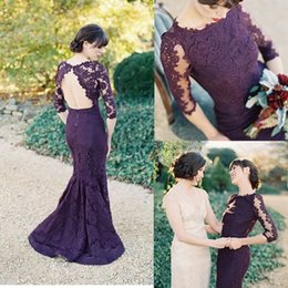 madre sirena púrpura vestidos de novia Rebajas Sirena morada oscura Madre de los vestidos de novia Cuello de joya Medias mangas Vestidos de noche de encaje sin espalda Vestidos de baile de la madre Vestidos formales