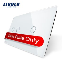 Wholesale Diy Panel - Free Shipping wall switch DIY Livolo Luxury White Pearl Crystal Glass,151mm*80mm, EU standard, Double Glass Panel VL-C7-C2 C1-11