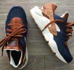 Wholesale Canvas Custom - 2017 New Huarache ID Custom Breathe Running Shoes Men Women Navy Blue Tan Air Huaraches Multicolor Denim Huarache Sneakers Athletic Trainers