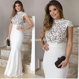 Wholesale Empire Waist Short Prom - White Lace Bridal Formal Party Evening Dresses Sheath High Neck Short Sleeves Empire Waist 2017 Plus Size Pageant Dress Long Gowns for Prom