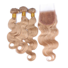 Wholesale Honey Blonde Hair Weave - 9A Brazilian Body Wave Human Hair 3 Bundles With Lace Closure 4 Pcs Lot Honey Blonde #27 Hair Weaves With Top Closure 4x4