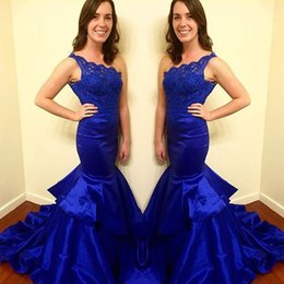 Wholesale Top Quality One Shoulder - 2016 Fabulous One Shoulder Prom Dress Long Formal Dresses Evening Wear Lace Top Taffeta Tiered Skirt with Sweep Train Cheap High Quality