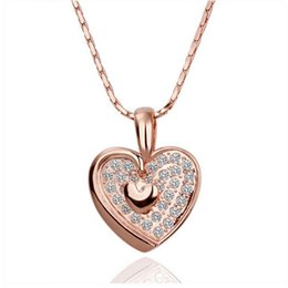 Wholesale 18 K White Gold Jewelry - Wholesale 18 k white gold jewelry Fashion shiny crystal temperament double peach heart pendant necklace - G089 sweetheart