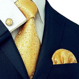 cajas de regalo Rebajas Los hombres de lujo de moda 8cm 100% corbata de seda corbata pañuelo pañuelo mancuernas paquete de regalo conjunto caja boda lazo conjunto