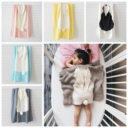 Wholesale Babies Yellow Blue Blankets - 5 Colors 73*108cm Newborn Big Rabbit Ear Swaddling Kids Gift Blankets Baby Bedding Knitted Baby Blanket Wrap Soft Blankets CCA7218 30pcs