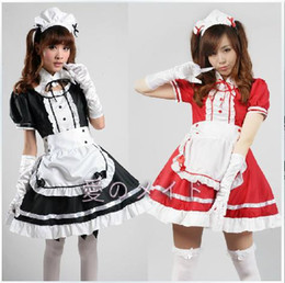 Wholesale Cute Cosplay Dresses - Wholesale-Adult Japanese Hatsune Miku !! Sexy Halloween Costume Cute Black Ruffle Lolita Maid Outfit Cosplay Fancy Dress