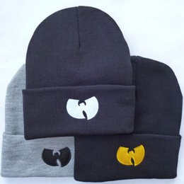 Wholesale Hiphop Skull Cap - New Fashion Winter WU TANG Beanies For Women Men Hiphop Gorros Bonnets Knitted Hats Caps Skullies free shipping