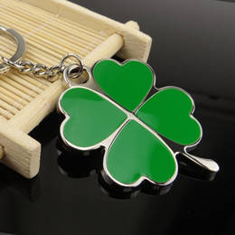 Wholesale Keyring Beautiful - Stainless High Quality Green Leaf Keychain Fashion Creative Beautiful Four Leaf Clover Steel Lucky Key Chain Jewelry Keyring