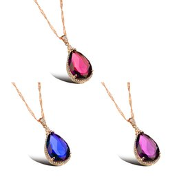 Wholesale Heart Shaped Platinum Pendant - New products listed: 18K Gold Plated Platinum plating Water droplets shape Pendant Necklaces Multicolor optional