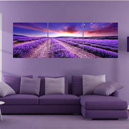 pinturas de flores para sala de estar Desconto 3 painel de arte da parede da lona cuadros retratos da parede para sala de estar imagem flor lavanda pinturas modernas cuadro sem quadro pintura