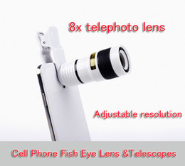 Wholesale Zoom Camera For Cell Phone - Universal 8X Zoom Cell phone telescope lens with holder Long Focal Camera Lens for Iphone Samsung HTC Sony Blackberry black,white in retail