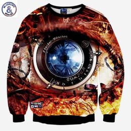 Wholesale Men S Big Watch - Hip Hop Hot sale Fashion sweatshirts 3d print machinery watch men women's creative big eyes casual hoodies lovely pullover