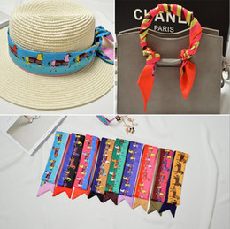 Wholesale Ribbon 5cm - Tied Bag silk Scarf high quality pony printing Small Bow Ribbon Headscarf Silk Scarves Wrap Twilly Handbag Decoration 95 *5cm YYA436