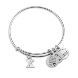 mix order customized good quality antique silver round hollow letter alphabet x bracelets bangles