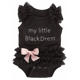 Wholesale Cute Lace Rompers - 2016 Cute Infant Baby Lace Tutu Rompers Dress Toddler Girls Letters Sleeveless Jumpsuits With Bowknot Newborn Black Onesies One-Piece