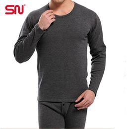 Wholesale Cashmere Long Underwear Men - Wholesale-Best quality SN brand Gray men Thermal underwear cashmere o-neck long johns pantalon termico plus size L XL XXL XXXL YCYP69