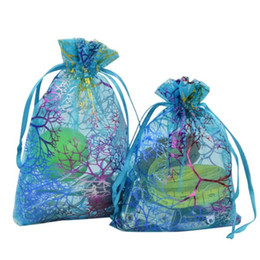 Wholesale Organza Bags Wholesale Blue - Coralline Pattern Blue Organza Drawstring Jewelry Pouches Party Wedding Favor Packaging Candy Wrap Square Gift Bags 9X12cm 3.5''X4.7'' 100pc