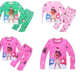 Wholesale Babies Pajama - Nightwear Girls Family Merry Christmas Pajamas Cartoon Moana Kids Pajama Sets Children Sleepwear Toddler Baby pyjamas 3colours