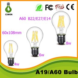 Wholesale E14 E27 Bulb 6w - A60 led filament bulb 6W 8w LED E27 BULB Global clear filament bulb lamp e27 e14 b22 110v 220v