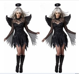 Wholesale Sexy Witch Costumes For Women - New Arrival Women Adult Fallen Angel Costume Black Angel Party Dress Sexy Adult Halloween Costumes for Women Fantasias feminina witch dress