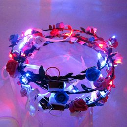 Wholesale Light Up Headband Christmas - LED Flashing Rose Flower Festival Headband Veil Party Halloween Christmas Wedding Light-Up Floral Garland Hairband Daughter Best Gift fast