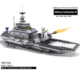 Wholesale Built Aircraft Models - ABS material 8 in1 Children 's Puzzle Assembling Building Blocks DIY Military Battleship Aircraft Tank Model educational toys gifts