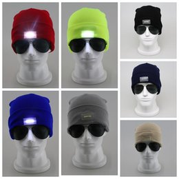 Wholesale Light Up Hats Wholesale - LED Lighting Knitted Hats Women Men Camping Cap Travel Hiking Climbing Night Hats Winter Beanie Light Up Caps KKA2627