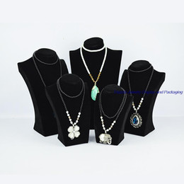 Wholesale Mannequins For Jewelry - Free Shipping Mannequin Hanger for Cabinet Showcase 34CM height Black Velvet Presentoir Collier Jewelry Bracelet Stand Necklace Holder