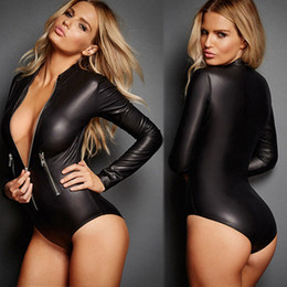 Argentina Venta al por mayor- Moda de mujer Patente sexy Leotardo Locomotora Body Jumpsuit Sleepwear cheap wholesale women leotards Suministro