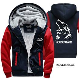 Wholesale House Hoodies - New Arrival American Game of Thrones Sweatshirts House Stark Hoodie Logo Winter JiaRong Fleece Mens Sweatshirts