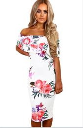 Wholesale Long Skirt Bra - 2017 Pencil skirt new multi-color printing bra collar short sleeved long bag hip slim dress 61536