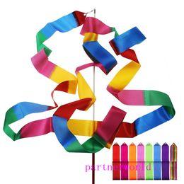 Nuovo 4 M Ginnastica Nastro Colorato Palestra Rhythmic Art Balletto Danza Nastro Streamer Twirling Rod Stick Multi Colori Spedizione Gratuita da regali ginnastici fornitori