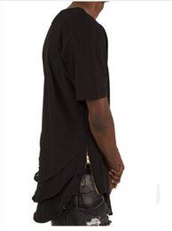 Wholesale Shirt Folding - Justin Bieber Extended T shirt Mens Fishtail Multi Fold Curved Hem Side Zipper Short Sleeve Longline T shirts Hip Hop KANYE WEST