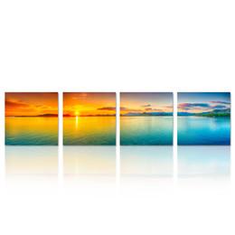 Decoración contemporánea online-Sunset Seascape Pintura Cuadros Impresiones de la Lona Wall Art Decor 4 Panel Arte Contemporáneo Ocean Art Giclee para la decoración del hogar y la oficina