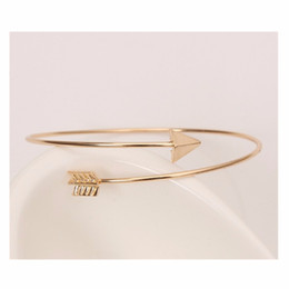 Wholesale Bow Arrow Bracelets - Wholesale-Hot Fashion Bijoux Girl Charm Silver Gold Plated Bow and Arrow Bracelets New 2016 Women Bangle Wedding Jewelry One Direction