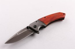 Wholesale Oem Browning Folding Knife - 2016 New OEM Brown F82 Fast-opening Tactical folding knife Grey Titaniun Blade Steel+wood handle camping knife knives wtih retail paper box